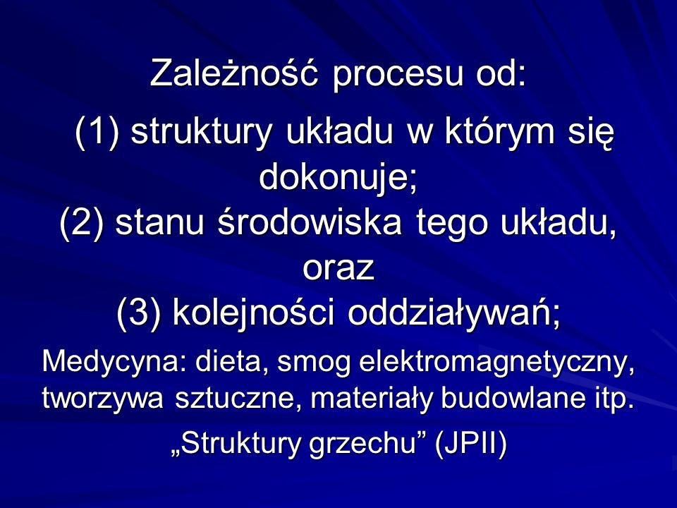 Zależność procesu od: (1) struktury układu w którym się dokonuje; (2) stanu środowiska tego układu, oraz (3) kolejności oddziaływań; Medycyna: dieta,
