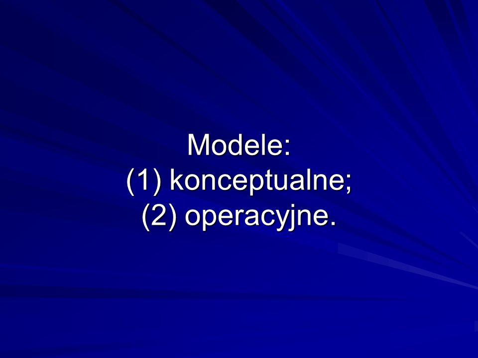 Modele: (1) konceptualne; (2) operacyjne.
