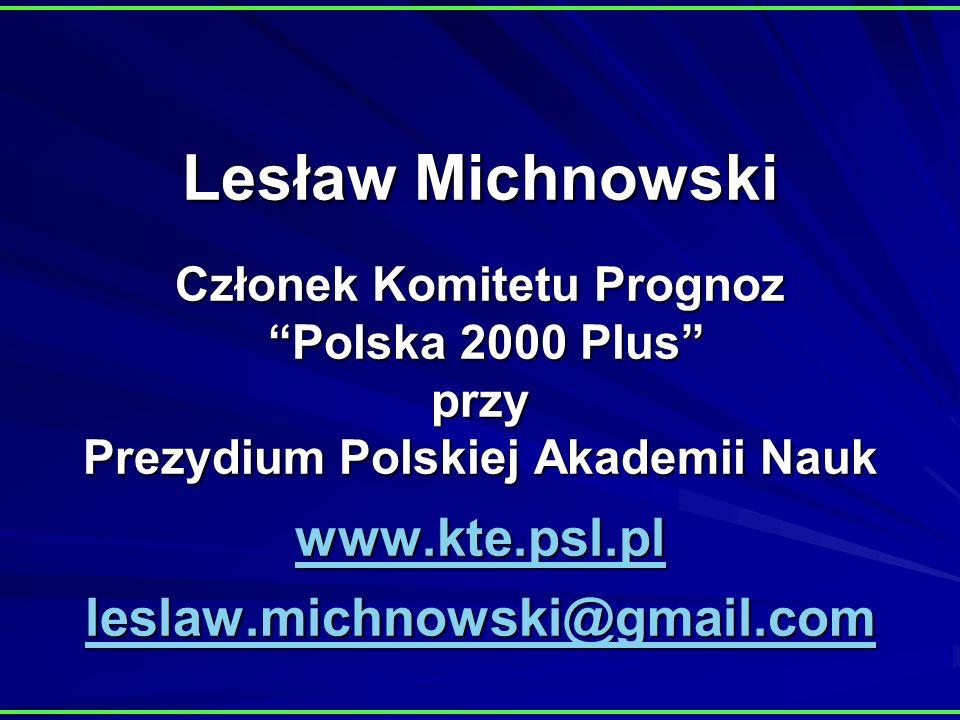 Lesław Michnowski Członek Komitetu Prognoz Polska 2000 Plus przy Prezydium Polskiej Akademii Nauk www.kte.psl.pl leslaw.michnowski@gmail.com www.kte.psl.pl leslaw.michnowski@gmail.com www.kte.psl.pl leslaw.michnowski@gmail.com