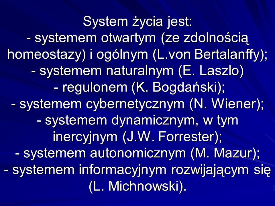 Wszystkie elementy układu: system życia–środowisko są wzajemnie współzależne i powiązane sprzężeniami zwrotnymi