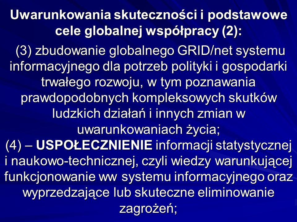 Uwarunkowania skuteczności i podstawowe cele globalnej współpracy (2): (3) zbudowanie globalnego GRID/net systemu informacyjnego dla potrzeb polityki