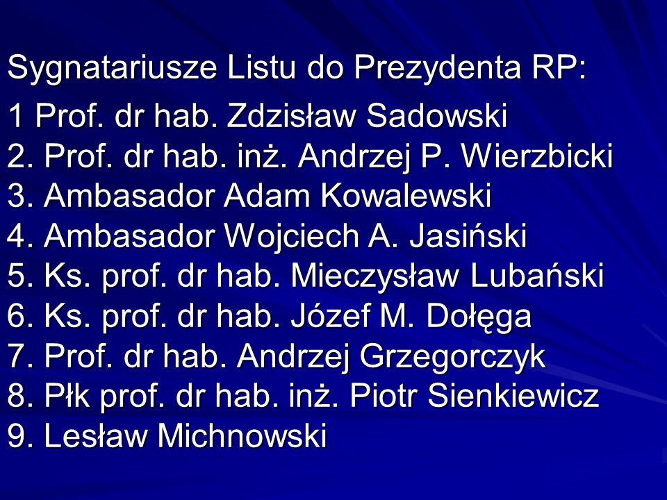 Sygnatariusze Listu do Prezydenta RP: 1 Prof. dr hab. Zdzisław Sadowski 2. Prof. dr hab. inż. Andrzej P. Wierzbicki 3. Ambasador Adam Kowalewski 4. Am