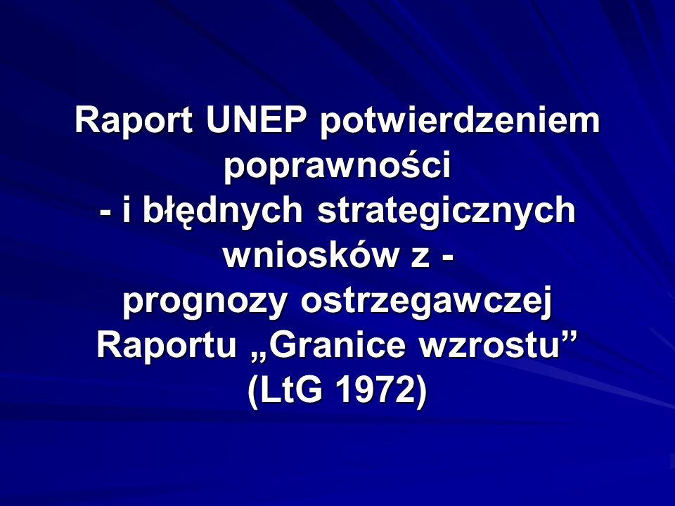 Raport UNEP potwierdzeniem poprawności - i błędnych strategicznych wniosków z - prognozy ostrzegawczej Raportu Granice wzrostu (LtG 1972)