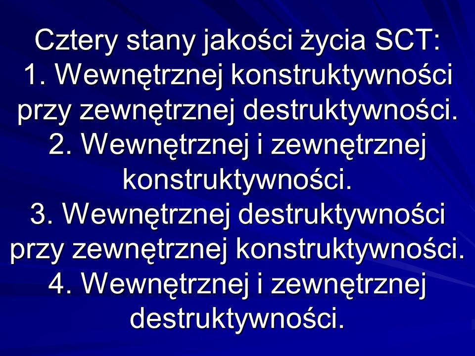 Cztery stany jakości życia SCT: 1. Wewnętrznej konstruktywności przy zewnętrznej destruktywności.