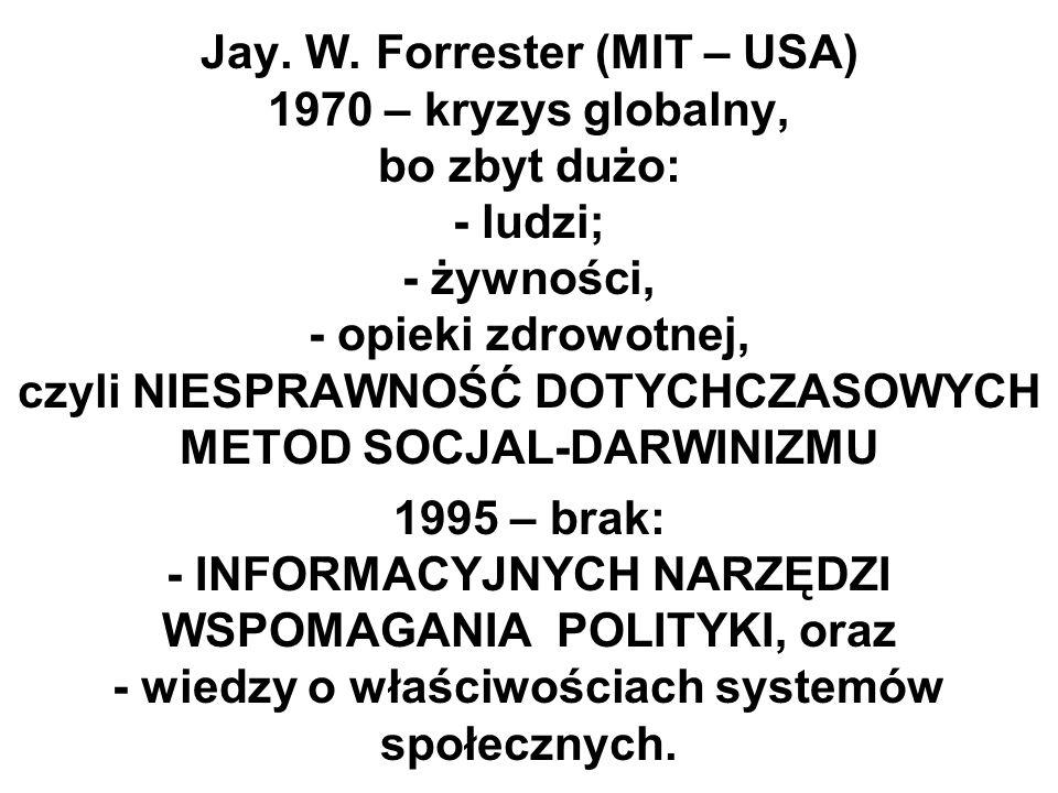 Jay. W. Forrester (MIT – USA) 1970 – kryzys globalny, bo zbyt dużo: - ludzi; - żywności, - opieki zdrowotnej, czyli NIESPRAWNOŚĆ DOTYCHCZASOWYCH METOD