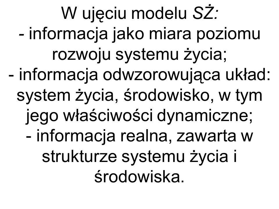 W ujęciu modelu SŻ: - informacja jako miara poziomu rozwoju systemu życia; - informacja odwzorowująca układ: system życia, środowisko, w tym jego właś