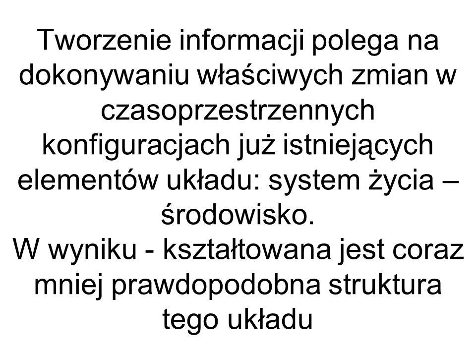 Tworzenie informacji polega na dokonywaniu właściwych zmian w czasoprzestrzennych konfiguracjach już istniejących elementów układu: system życia – śro