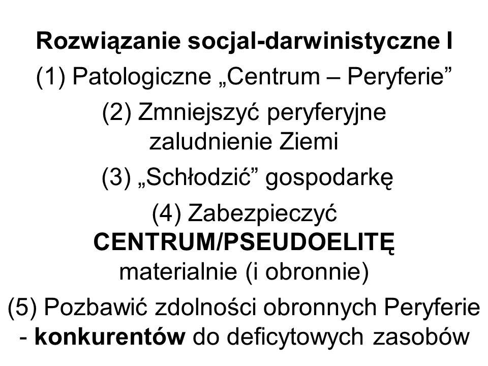 Rozwiązanie socjal-darwinistyczne I (1) Patologiczne Centrum – Peryferie (2) Zmniejszyć peryferyjne zaludnienie Ziemi (3) Schłodzić gospodarkę (4) Zabezpieczyć CENTRUM/PSEUDOELITĘ materialnie (i obronnie) (5) Pozbawić zdolności obronnych Peryferie - konkurentów do deficytowych zasobów