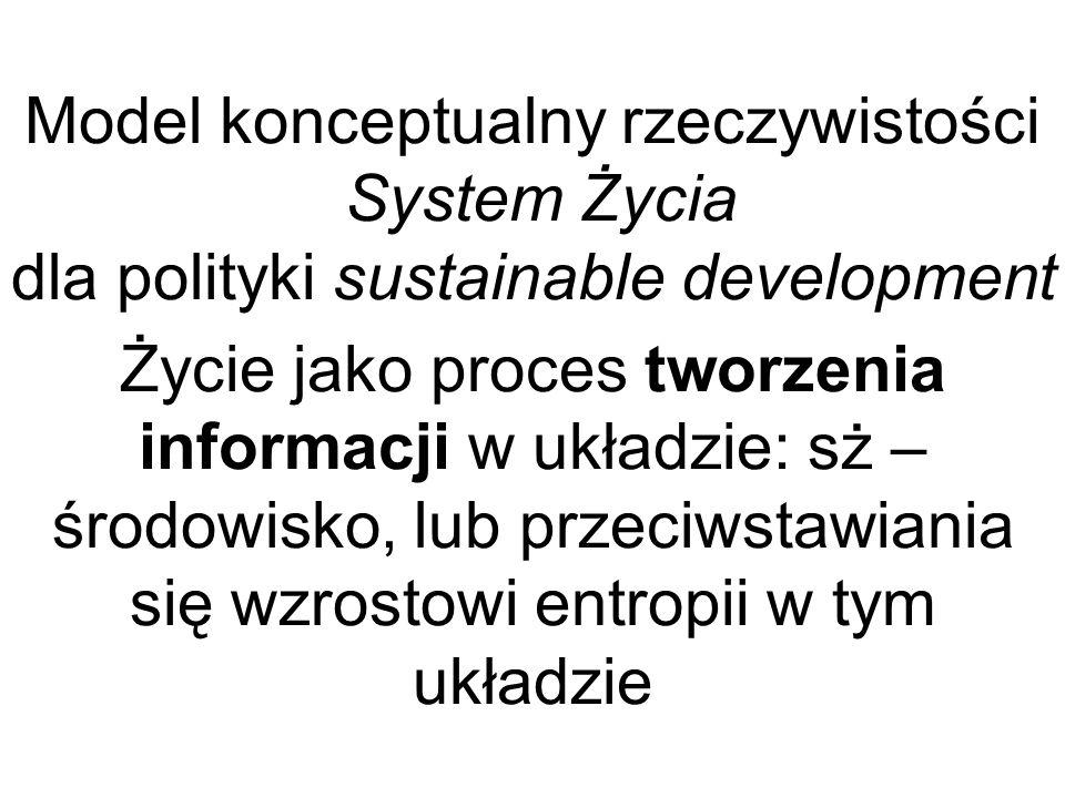 Model konceptualny rzeczywistości System Życia dla polityki sustainable development Życie jako proces tworzenia informacji w układzie: sż – środowisko, lub przeciwstawiania się wzrostowi entropii w tym układzie