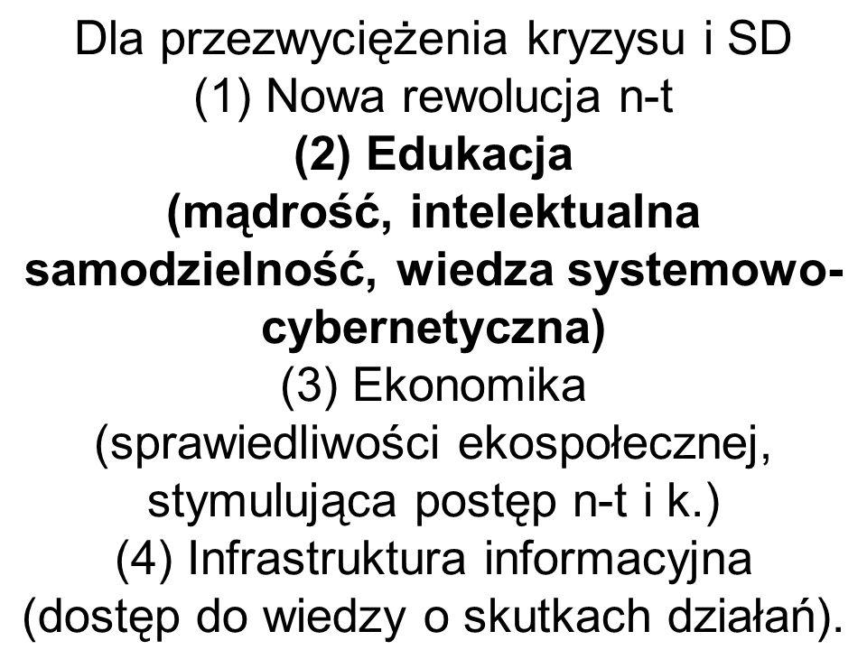 Dla przezwyciężenia kryzysu i SD (1) Nowa rewolucja n-t (2) Edukacja (mądrość, intelektualna samodzielność, wiedza systemowo- cybernetyczna) (3) Ekonomika (sprawiedliwości ekospołecznej, stymulująca postęp n-t i k.) (4) Infrastruktura informacyjna (dostęp do wiedzy o skutkach działań).