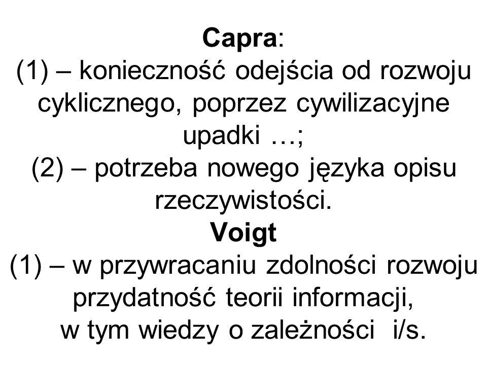 Capra: (1) – konieczność odejścia od rozwoju cyklicznego, poprzez cywilizacyjne upadki …; (2) – potrzeba nowego języka opisu rzeczywistości.