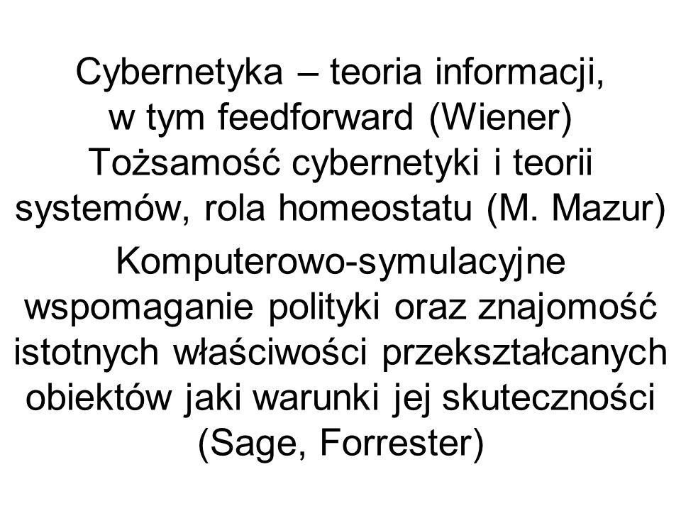 Cybernetyka – teoria informacji, w tym feedforward (Wiener) Tożsamość cybernetyki i teorii systemów, rola homeostatu (M.