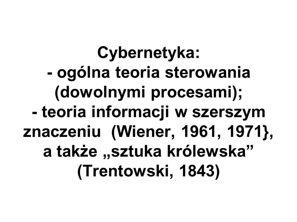 Cybernetyka: - ogólna teoria sterowania (dowolnymi procesami); - teoria informacji w szerszym znaczeniu (Wiener, 1961, 1971}, a także sztuka królewska