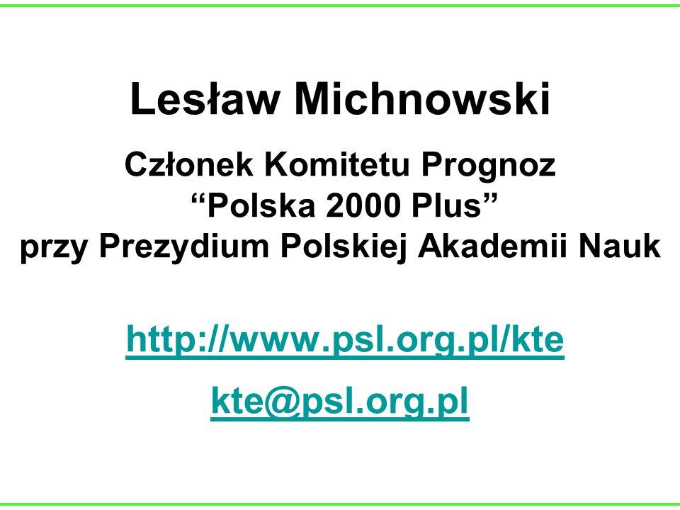 Lesław Michnowski Członek Komitetu Prognoz Polska 2000 Plus przy Prezydium Polskiej Akademii Nauk http://www.psl.org.pl/kte kte@psl.org.pl http://www.
