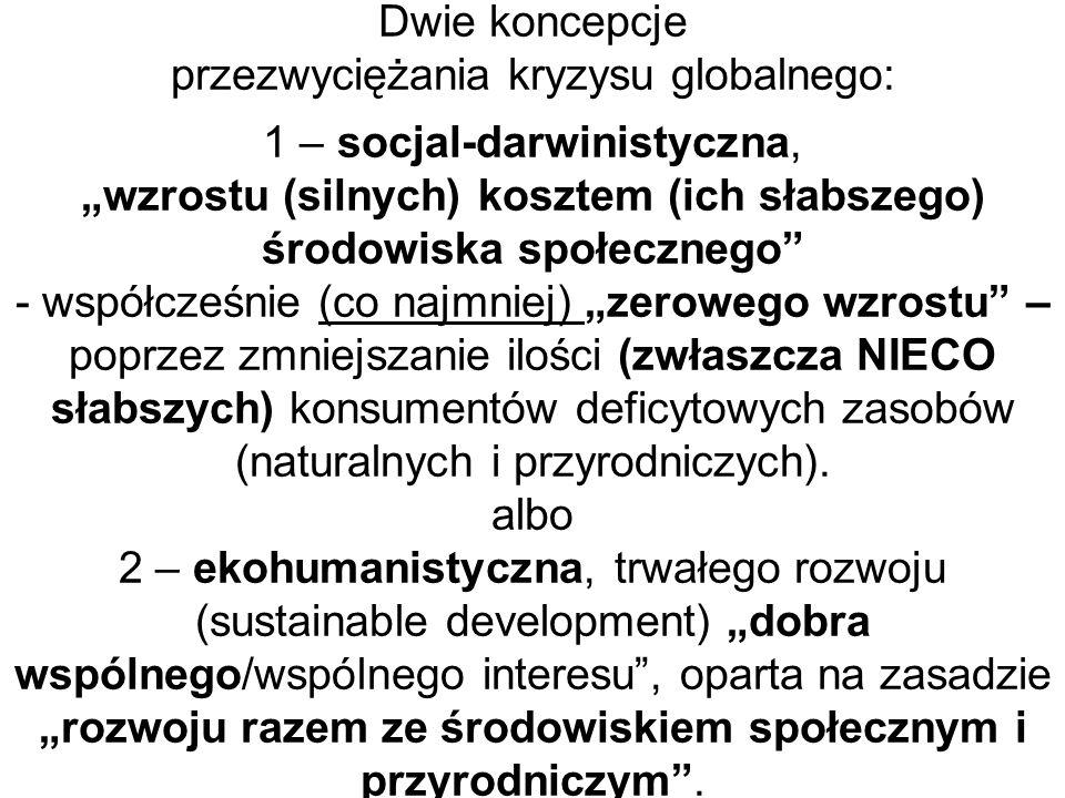 Dwie koncepcje przezwyciężania kryzysu globalnego: 1 – socjal-darwinistyczna, wzrostu (silnych) kosztem (ich słabszego) środowiska społecznego - współ