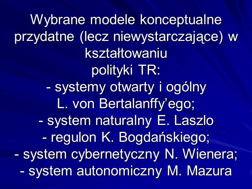 Wybrane modele konceptualne przydatne (lecz niewystarczające) w kształtowaniu polityki TR: - systemy otwarty i ogólny L.