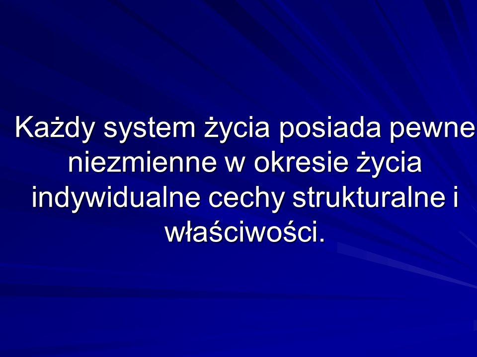 Każdy system życia posiada pewne niezmienne w okresie życia indywidualne cechy strukturalne i właściwości.