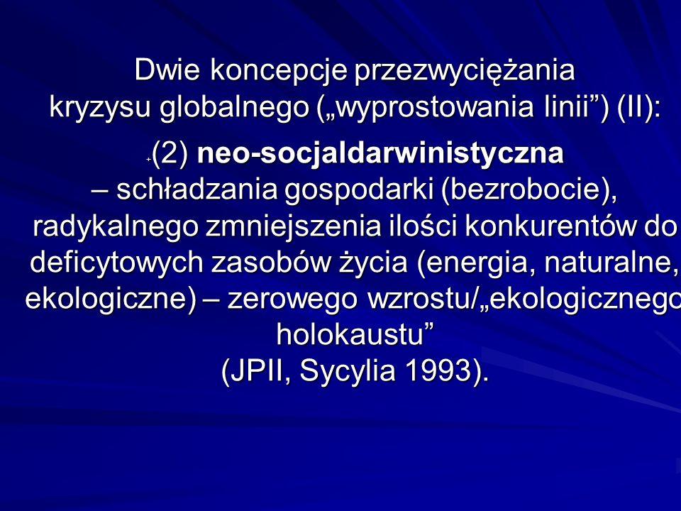 Dwie koncepcje przezwyciężania kryzysu globalnego (wyprostowania linii) (II): + (2) neo-socjaldarwinistyczna – schładzania gospodarki (bezrobocie), ra