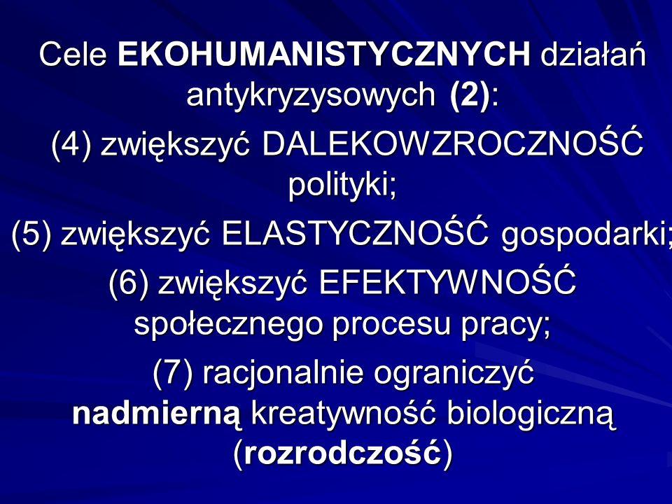 Cele EKOHUMANISTYCZNYCH działań antykryzysowych (2): (4) zwiększyć DALEKOWZROCZNOŚĆ polityki; (5) zwiększyć ELASTYCZNOŚĆ gospodarki; (6) zwiększyć EFE