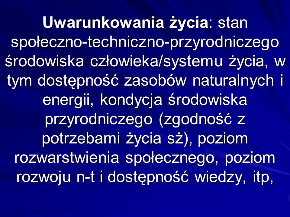 Uwarunkowania życia: stan społeczno-techniczno-przyrodniczego środowiska człowieka/systemu życia, w tym dostępność zasobów naturalnych i energii, kond