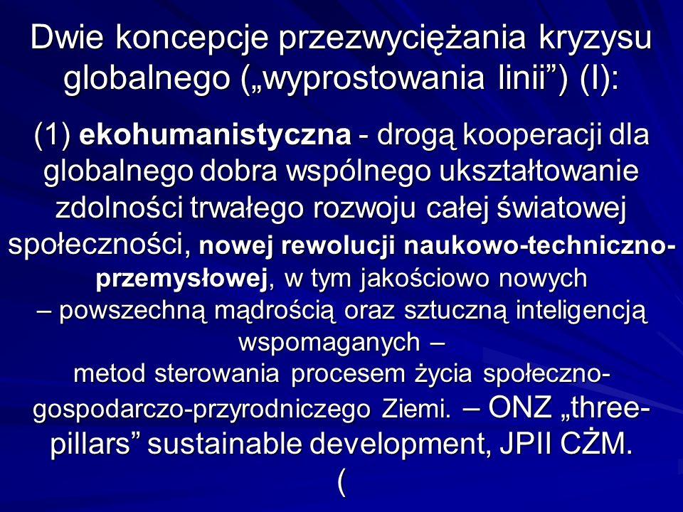 Dwie koncepcje przezwyciężania kryzysu globalnego (wyprostowania linii) (I): (1) ekohumanistyczna - drogą kooperacji dla globalnego dobra wspólnego uk