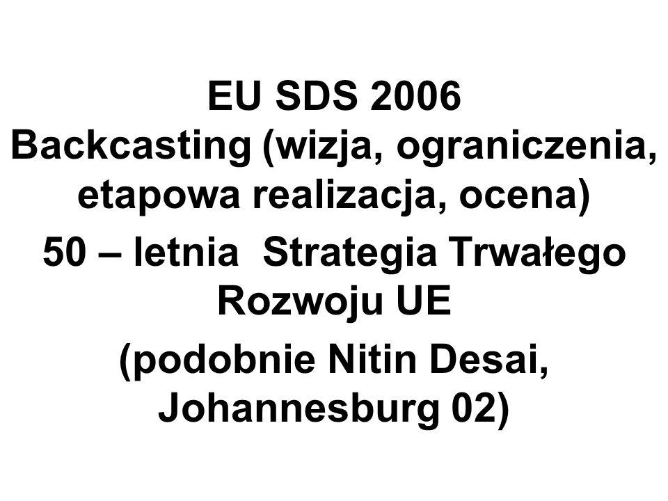 EU SDS 2006 Backcasting (wizja, ograniczenia, etapowa realizacja, ocena) 50 – letnia Strategia Trwałego Rozwoju UE (podobnie Nitin Desai, Johannesburg