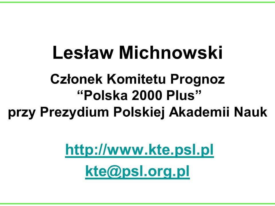 Lesław Michnowski Członek Komitetu Prognoz Polska 2000 Plus przy Prezydium Polskiej Akademii Nauk http://www.kte.psl.pl kte@psl.org.pl http://www.kte.