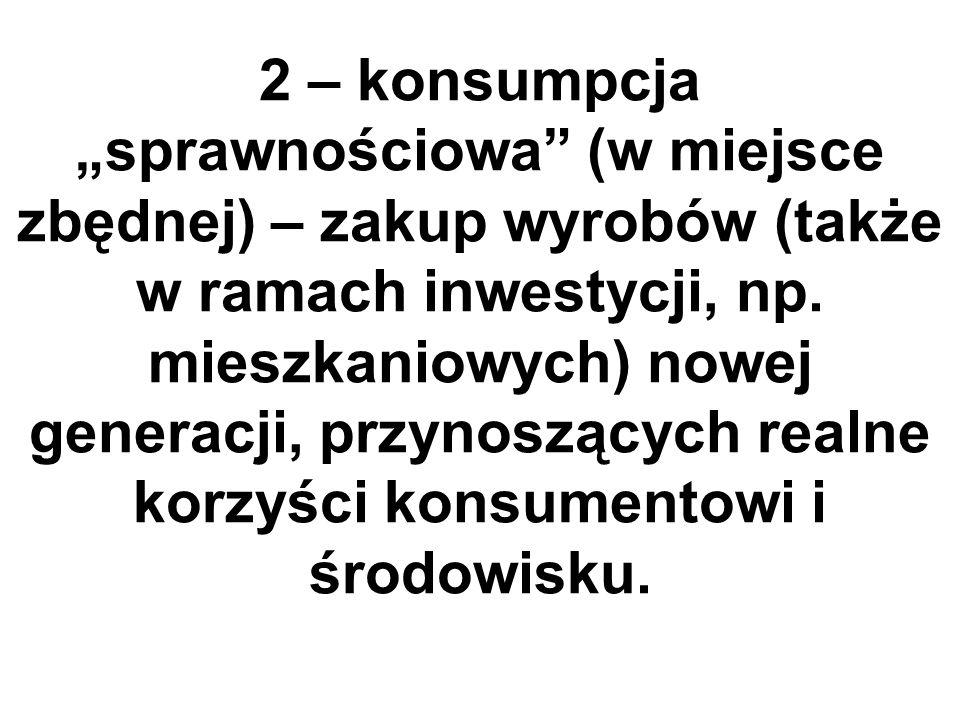 2 – konsumpcja sprawnościowa (w miejsce zbędnej) – zakup wyrobów (także w ramach inwestycji, np.