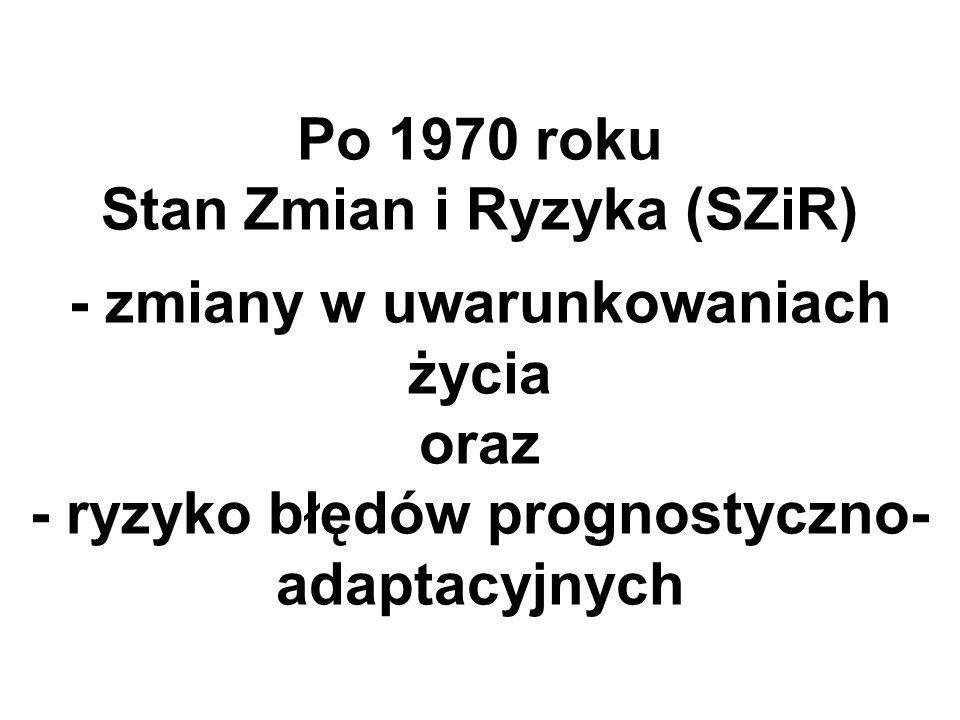 Po 1970 roku Stan Zmian i Ryzyka (SZiR) - zmiany w uwarunkowaniach życia oraz - ryzyko błędów prognostyczno- adaptacyjnych