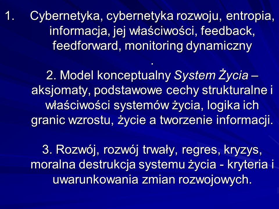 1.Cybernetyka, cybernetyka rozwoju, entropia, informacja, jej właściwości, feedback, feedforward, monitoring dynamiczny.