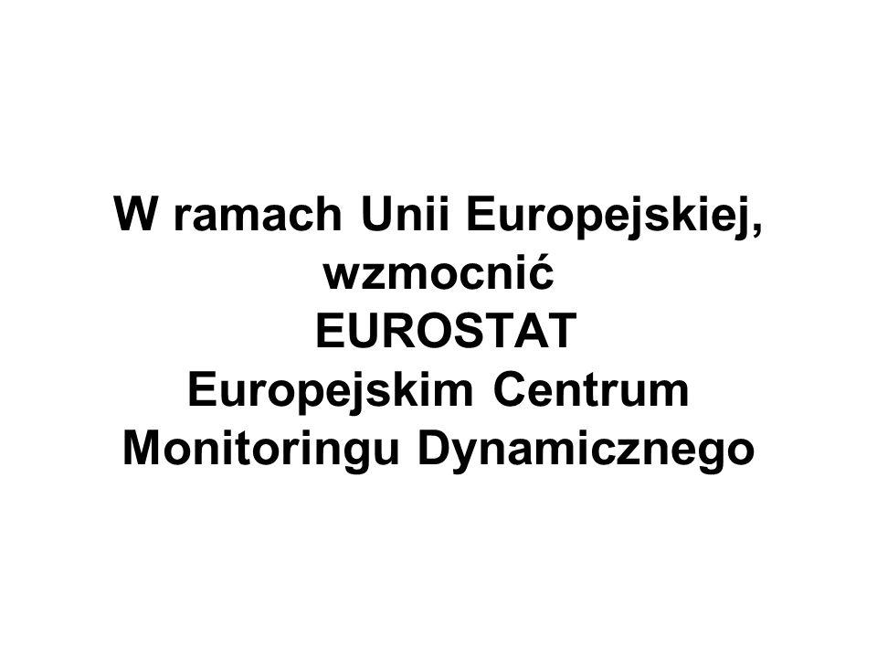 W ramach Unii Europejskiej, wzmocnić EUROSTAT Europejskim Centrum Monitoringu Dynamicznego