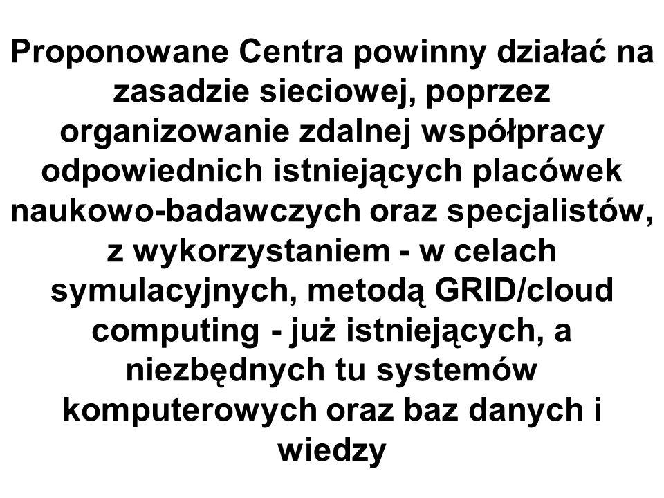 Proponowane Centra powinny działać na zasadzie sieciowej, poprzez organizowanie zdalnej współpracy odpowiednich istniejących placówek naukowo-badawczych oraz specjalistów, z wykorzystaniem - w celach symulacyjnych, metodą GRID/cloud computing - już istniejących, a niezbędnych tu systemów komputerowych oraz baz danych i wiedzy