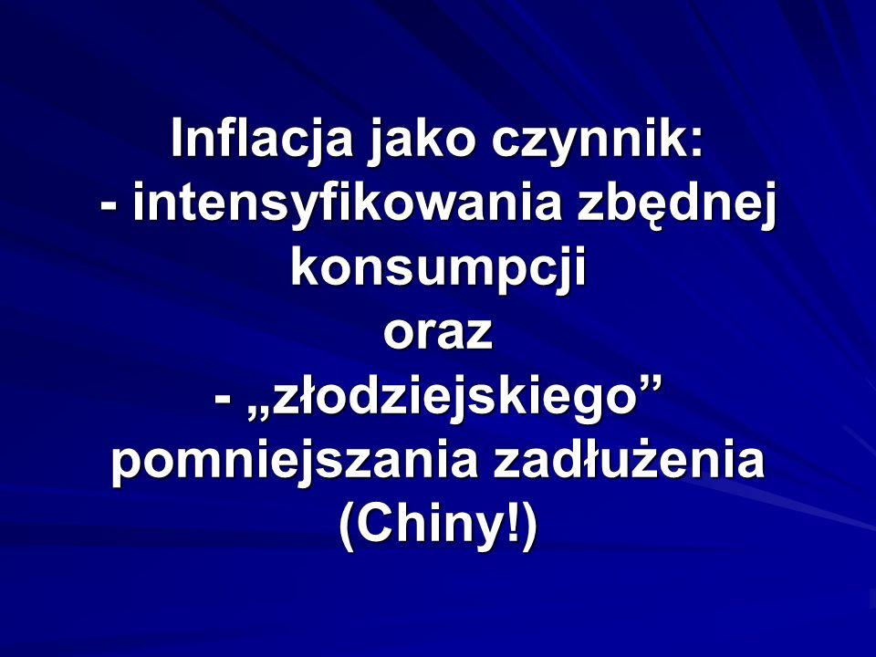 Inflacja jako czynnik: - intensyfikowania zbędnej konsumpcji oraz - złodziejskiego pomniejszania zadłużenia (Chiny!)