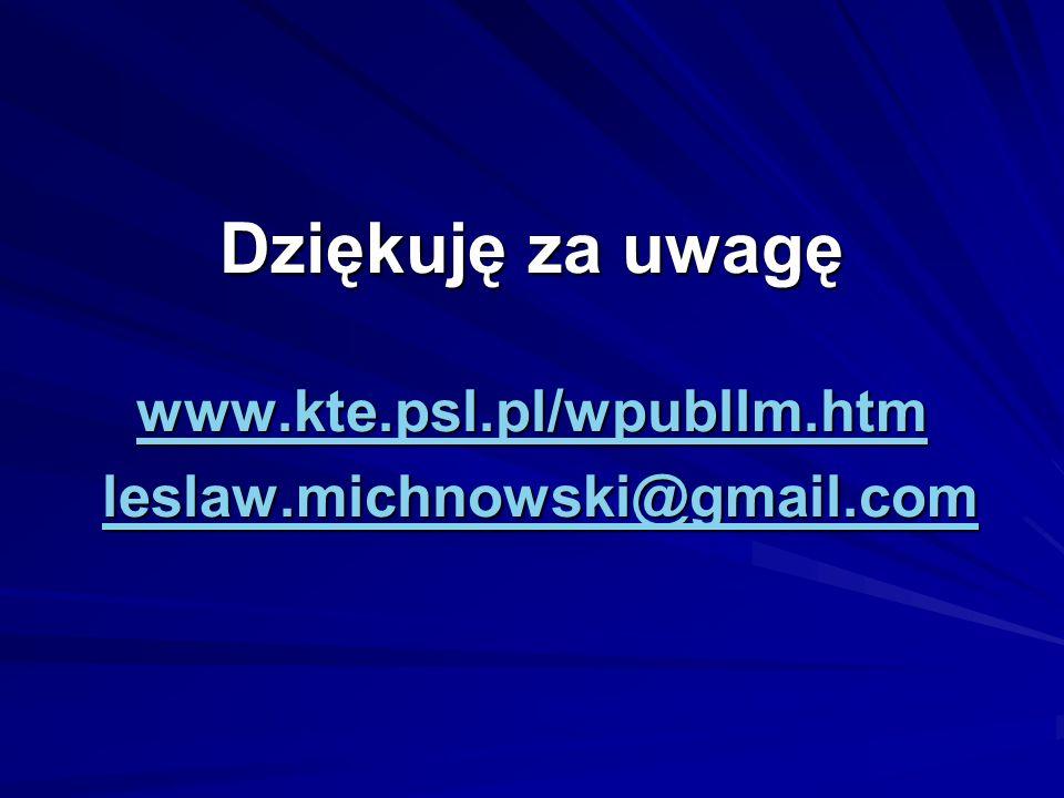Dziękuję za uwagę www.kte.psl.pl/wpubllm.htm leslaw.michnowski@gmail.com www.kte.psl.pl/wpubllm.htmleslaw.michnowski@gmail.com www.kte.psl.pl/wpubllm.htmleslaw.michnowski@gmail.com