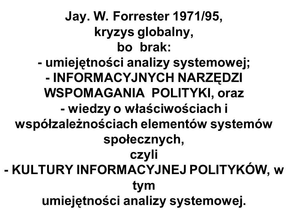 Jay. W. Forrester 1971/95, kryzys globalny, bo brak: - umiejętności analizy systemowej; - INFORMACYJNYCH NARZĘDZI WSPOMAGANIA POLITYKI, oraz - wiedzy