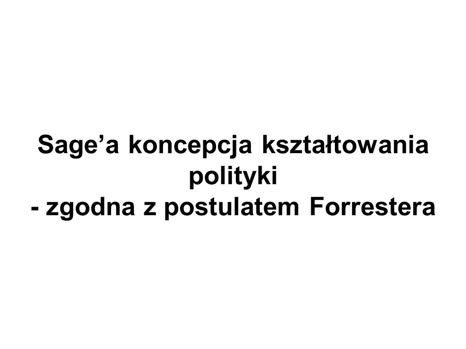 Sagea koncepcja kształtowania polityki - zgodna z postulatem Forrestera