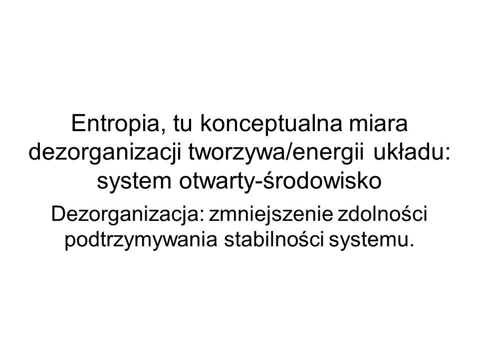 Entropia, tu konceptualna miara dezorganizacji tworzywa/energii układu: system otwarty-środowisko Dezorganizacja: zmniejszenie zdolności podtrzymywani