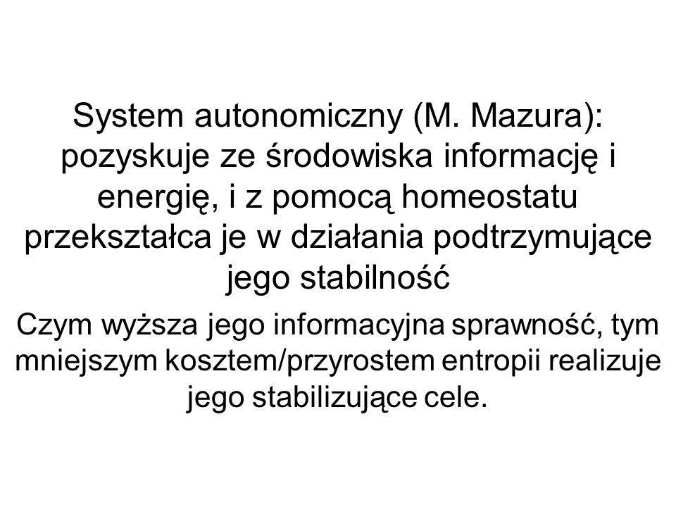 System autonomiczny (M. Mazura): pozyskuje ze środowiska informację i energię, i z pomocą homeostatu przekształca je w działania podtrzymujące jego st