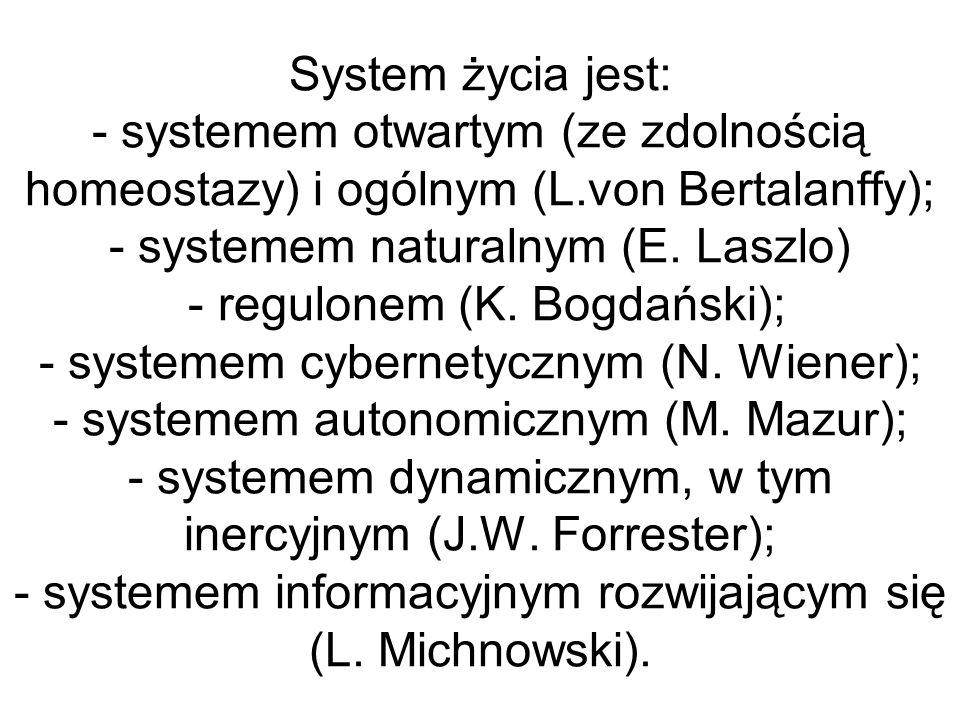 System życia jest: - systemem otwartym (ze zdolnością homeostazy) i ogólnym (L.von Bertalanffy); - systemem naturalnym (E. Laszlo) - regulonem (K. Bog