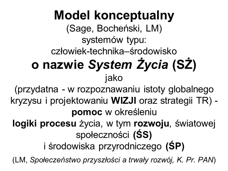 Model konceptualny (Sage, Bocheński, LM) systemów typu: człowiek-technika–środowisko o nazwie System Życia (SŻ) jako (przydatna - w rozpoznawaniu isto