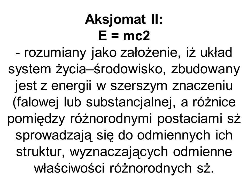 Aksjomat II: E = mc2 - rozumiany jako założenie, iż układ system życia–środowisko, zbudowany jest z energii w szerszym znaczeniu (falowej lub substancjalnej, a różnice pomiędzy różnorodnymi postaciami sż sprowadzają się do odmiennych ich struktur, wyznaczających odmienne właściwości różnorodnych sż.