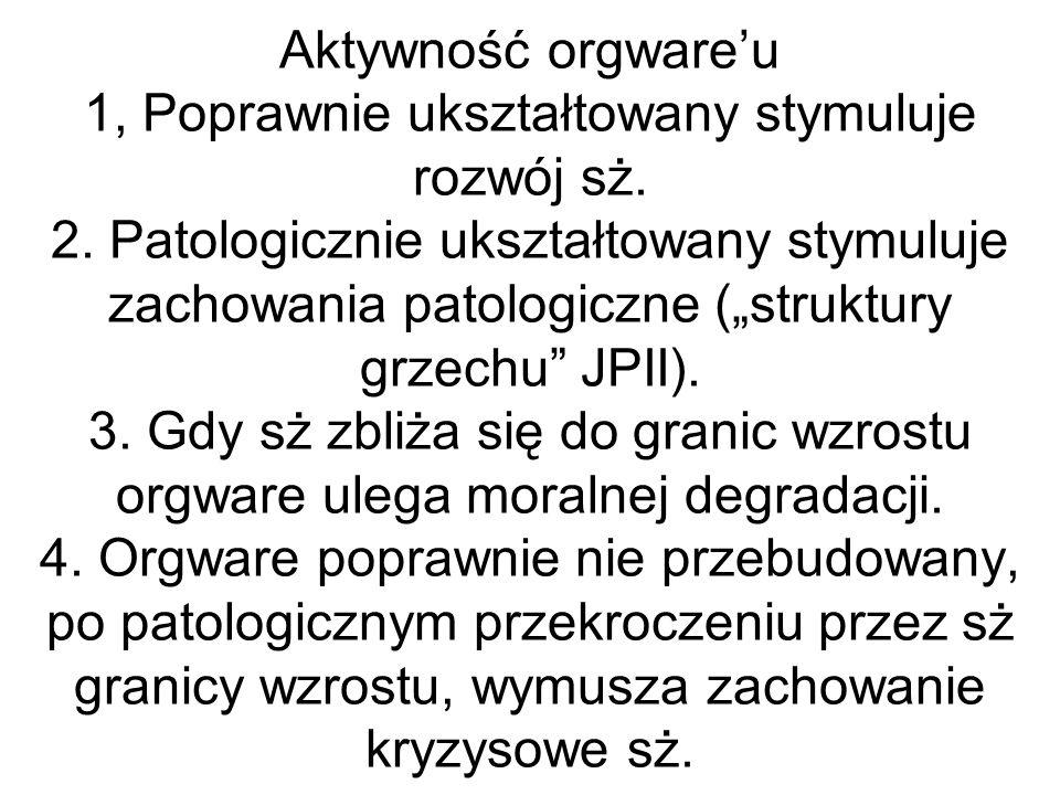 Aktywność orgwareu 1, Poprawnie ukształtowany stymuluje rozwój sż. 2. Patologicznie ukształtowany stymuluje zachowania patologiczne (struktury grzechu