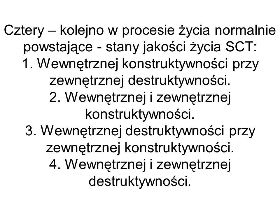 Cztery – kolejno w procesie życia normalnie powstające - stany jakości życia SCT: 1. Wewnętrznej konstruktywności przy zewnętrznej destruktywności. 2.