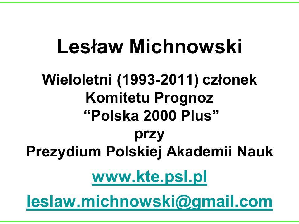 Lesław Michnowski Wieloletni (1993-2011) członek Komitetu Prognoz Polska 2000 Plus przy Prezydium Polskiej Akademii Nauk www.kte.psl.pl leslaw.michnow