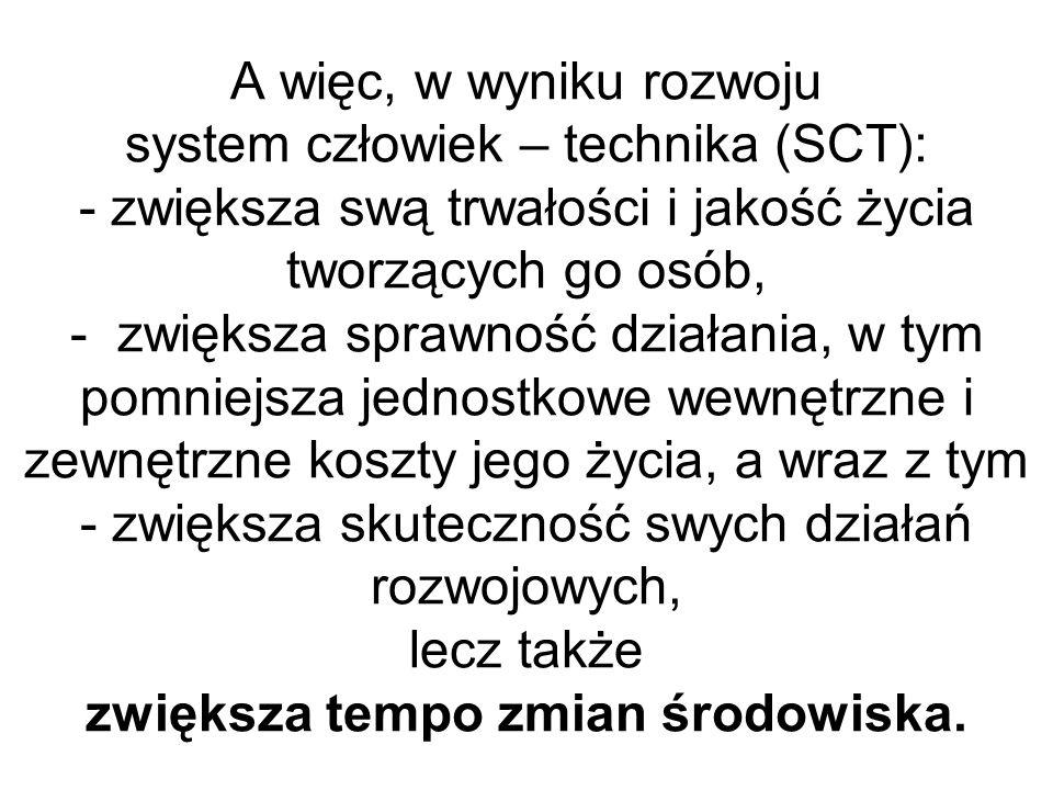 A więc, w wyniku rozwoju system człowiek – technika (SCT): - zwiększa swą trwałości i jakość życia tworzących go osób, - zwiększa sprawność działania,