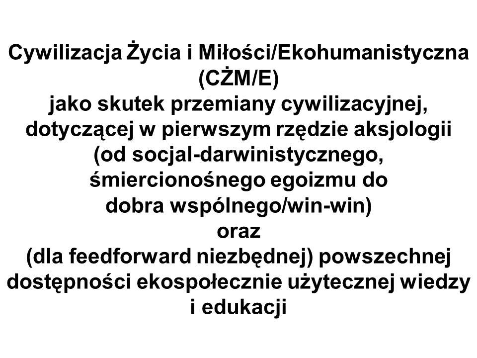 Cywilizacja Życia i Miłości/Ekohumanistyczna (CŻM/E) jako skutek przemiany cywilizacyjnej, dotyczącej w pierwszym rzędzie aksjologii (od socjal-darwin