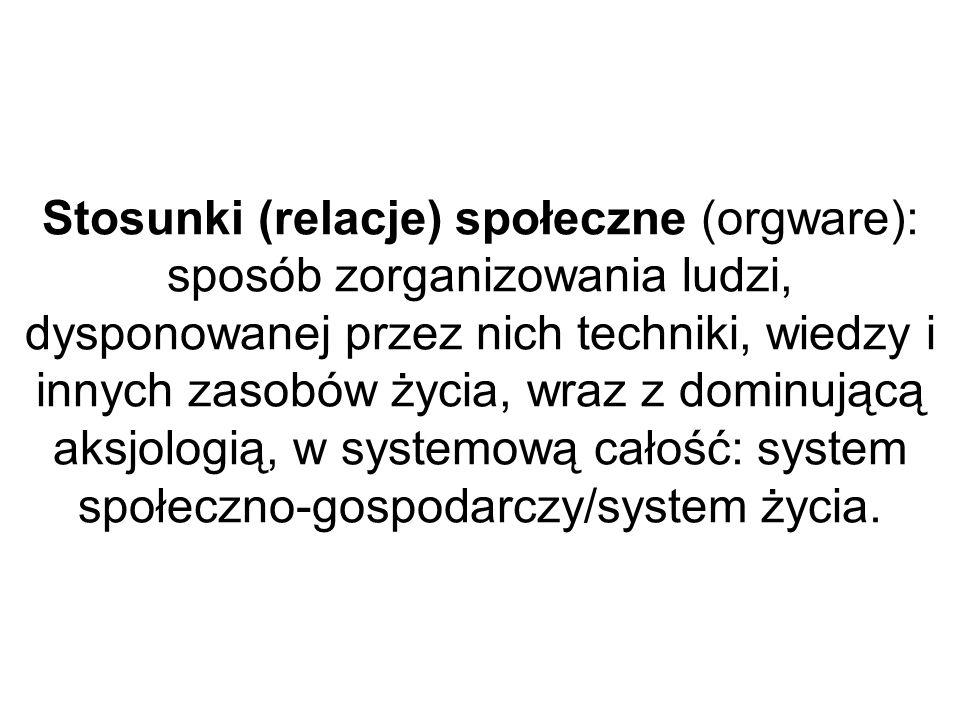 Stosunki (relacje) społeczne (orgware): sposób zorganizowania ludzi, dysponowanej przez nich techniki, wiedzy i innych zasobów życia, wraz z dominującą aksjologią, w systemową całość: system społeczno-gospodarczy/system życia.