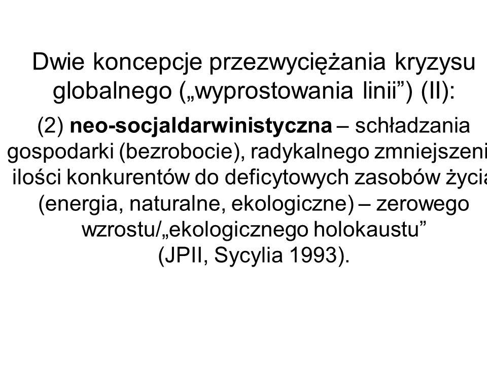Dwie koncepcje przezwyciężania kryzysu globalnego (wyprostowania linii) (II): (2) neo-socjaldarwinistyczna – schładzania gospodarki (bezrobocie), rady