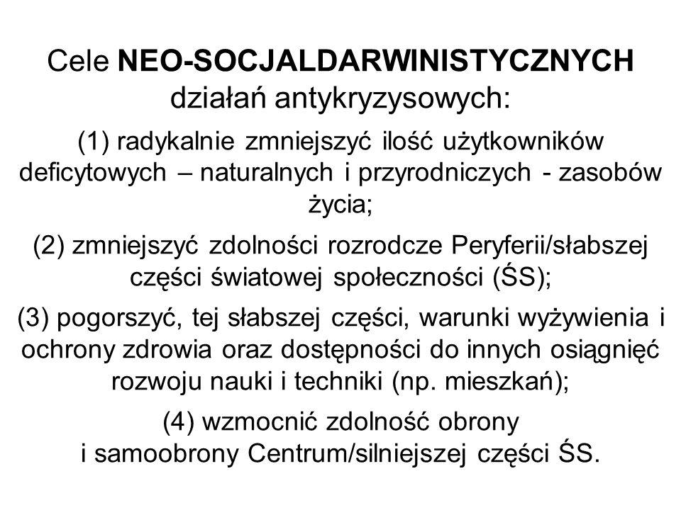 Cele NEO-SOCJALDARWINISTYCZNYCH działań antykryzysowych: (1) radykalnie zmniejszyć ilość użytkowników deficytowych – naturalnych i przyrodniczych - za