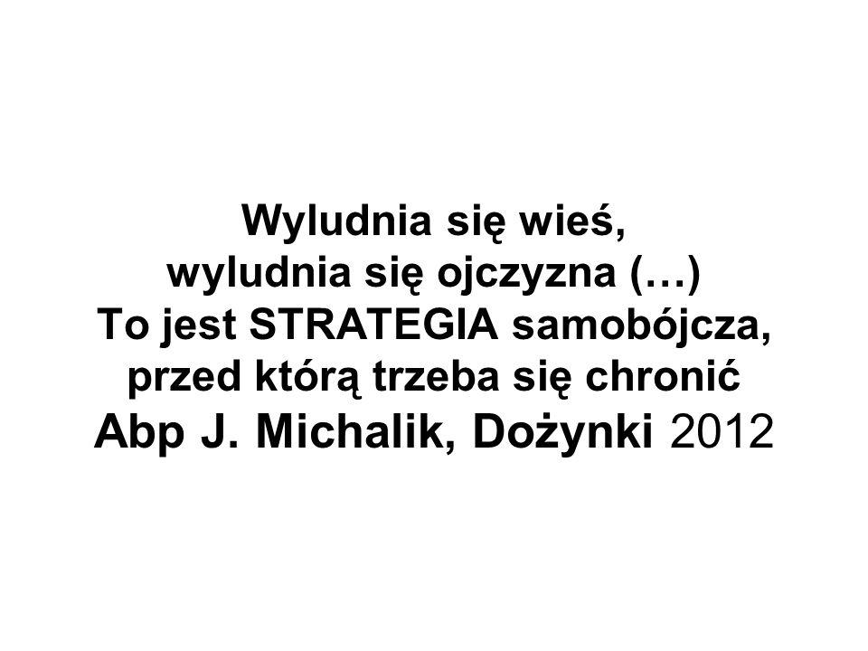 Wyludnia się wieś, wyludnia się ojczyzna (…) To jest STRATEGIA samobójcza, przed którą trzeba się chronić Abp J. Michalik, Dożynki 2012